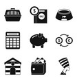 house for animal icons set simple style vector image vector image