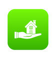 house in hand icon digital green vector image