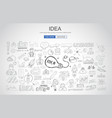 idea concept with light bulb and doodle sketches vector image vector image