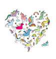 magic unicorns collection heart shape for your vector image vector image