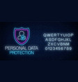 personal data protection glowing neon sign with vector image