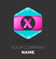 Realistic letter x logo in colorful hexagonal vector image