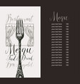 restaurant menu with price list fork and curtains vector image vector image