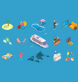 Sea cruise icon set isometric