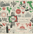 seamless pattern on theme italian cuisine vector image vector image