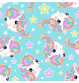 seamless pattern small white unicorns with stars vector image