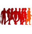 set red silhouettes of beautiful man and woman on vector image vector image