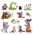 smart animals wild animal with books funny vector image