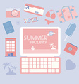 Travel planning summer holiday icon set vector image vector image