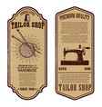 vintage tailor shop flyer templates sew tailor vector image vector image