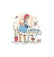 woman gardener watering gardens flowers vector image