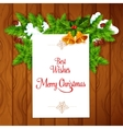 Xmas card with holly berry on wooden background vector image