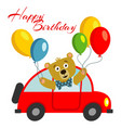 happy birthday kids postcard template with bear vector image