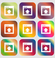 Direction arrow up icon Nine buttons with bright vector image