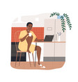 african american freelancer woman work from home vector image