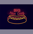 big hot dog neon signboard vector image vector image