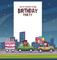 birthday kids invitation party card vector image vector image
