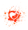 Bloody red splashes and sports heart with embryo vector image vector image