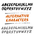brush font uppercase letters hand written abc vector image