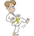 cartoon boy in a karate suit kicking vector image vector image