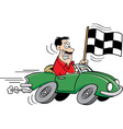 Cartoon man holding a checkered flag vector image vector image