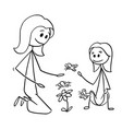 cartoon mother and daughter watching flowers vector image