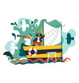 children playing pirate games on old ship vector image
