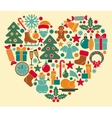 Christmas symbols in heart shape vector image
