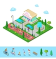 City Park Bicycle Path Family Riding on Bikes vector image