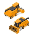 Combine Harvester Set Isometric View vector image