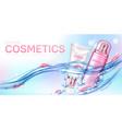 cosmetics bottles floating in water with petals vector image vector image