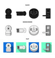 design of cctv and camera icon collection vector image