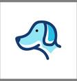 dog head logo - outline monoline vector image vector image