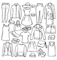 Doodle set with woman clothes vector image