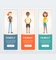 family banners set happy children teens flat vector image vector image