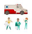 Flat ambulance car super doctor surgeon