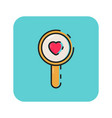flat color magnifying glass icon vector image vector image