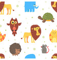 funny animals seamless pattern cute lion owl vector image