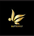 gold butterfly business logo vector image vector image