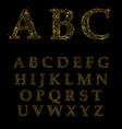 gold letter alphabetic fonts vector image vector image
