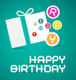Happy Birthday with Paper Gift Box and Lette vector image vector image