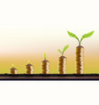 increasing from 1 to 10 plant on coins investment vector image vector image