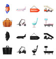 isolated object airport and airplane icon vector image vector image
