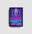 karaoke party poster neon karaoke night vector image vector image