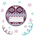 label round with knitted ornament vector image vector image