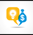 Light-bulb and dollar symbol in message bubble vector image vector image