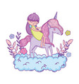 little unicorn and princess in the clouds vector image