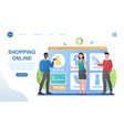 male and female characters are shopping online vector image vector image