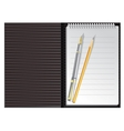 Open black striped notebook with pen and pencil vector image vector image