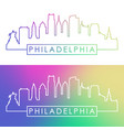 philadelphia skyline colorful linear style vector image vector image